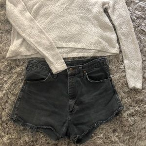 Distressed dark denim wrangler shorts